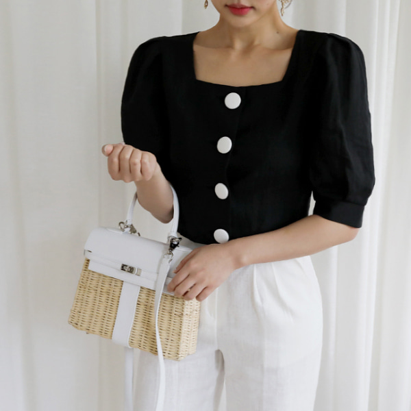 Large Button Crop Blouse