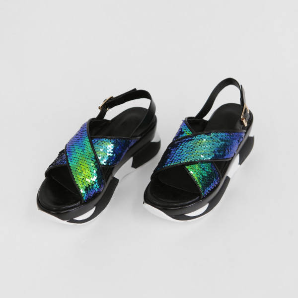 Sequined Upper Thick Sole Sandals