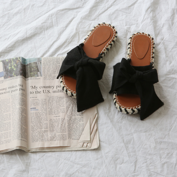 Ribbon Accent Wide Upper Sandals