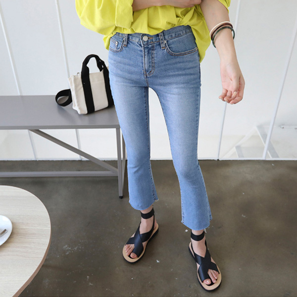 Cropped Boot Cut Denim Pants