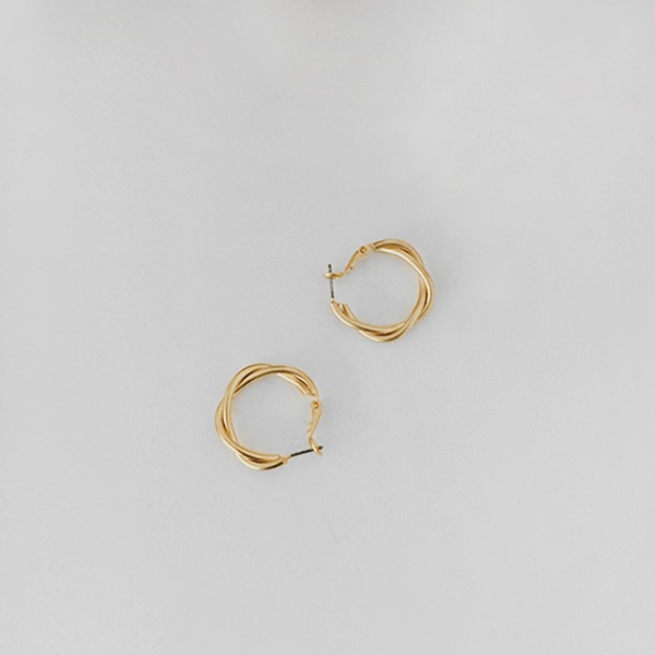 Twisted Hoop Omega Back Earrings