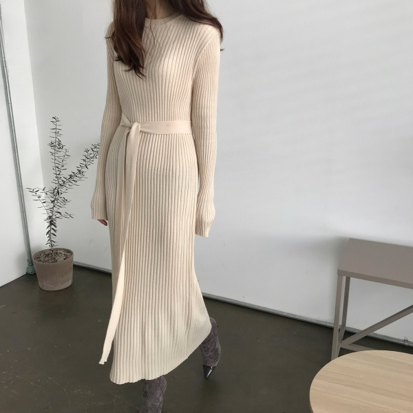 Ribbed Belted Knit Dress