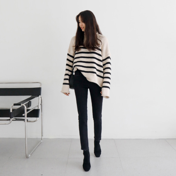Rolled Edge Striped Sweater
