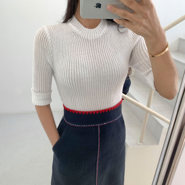 Folded Cuff Ribbed Knit Top