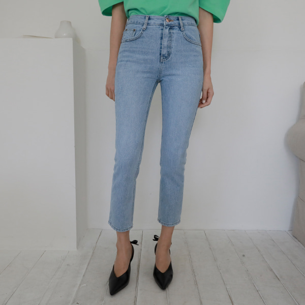 Straight Cut Cropped Denim Pants