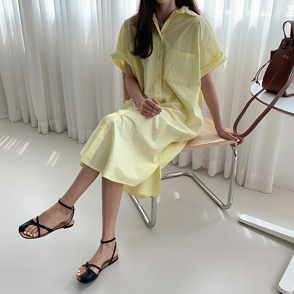 Curved Hem Short Sleeve Shirt Dress