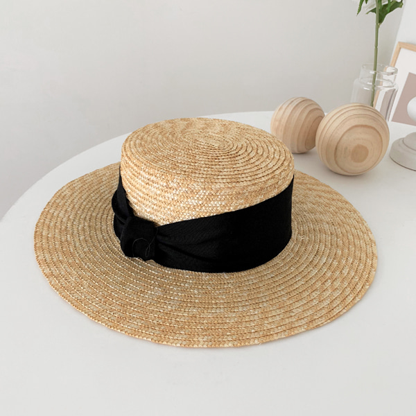 Knot Accent Wide Band Woven Hat