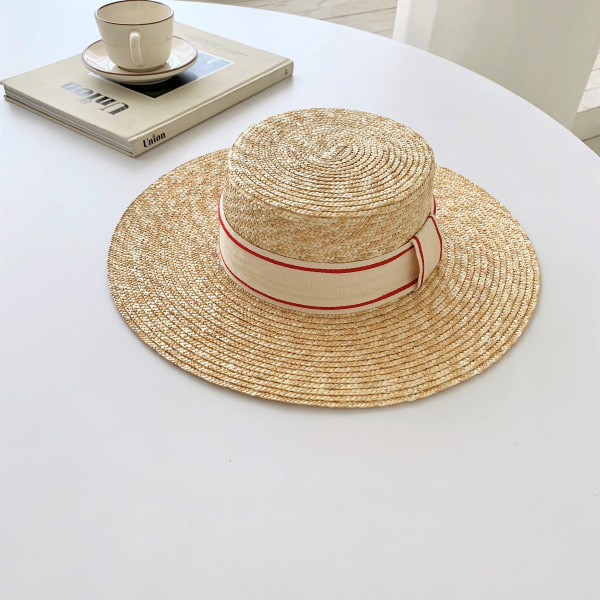 Contrast-Accented Band Boater Hat