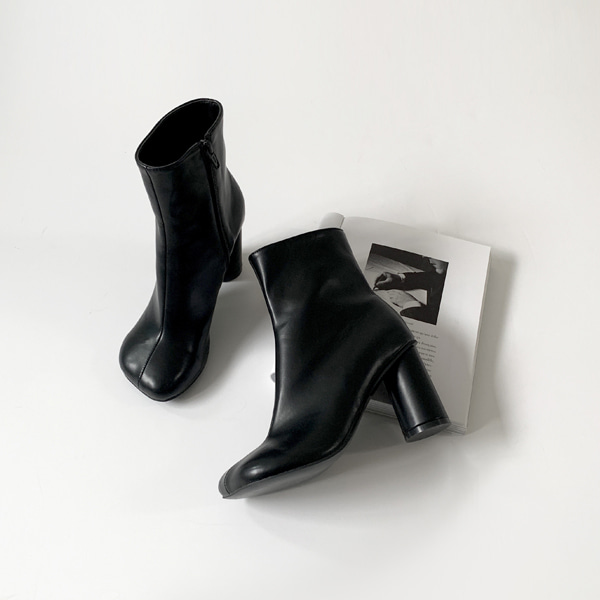 Rounded Square Toe High Heel Boots
