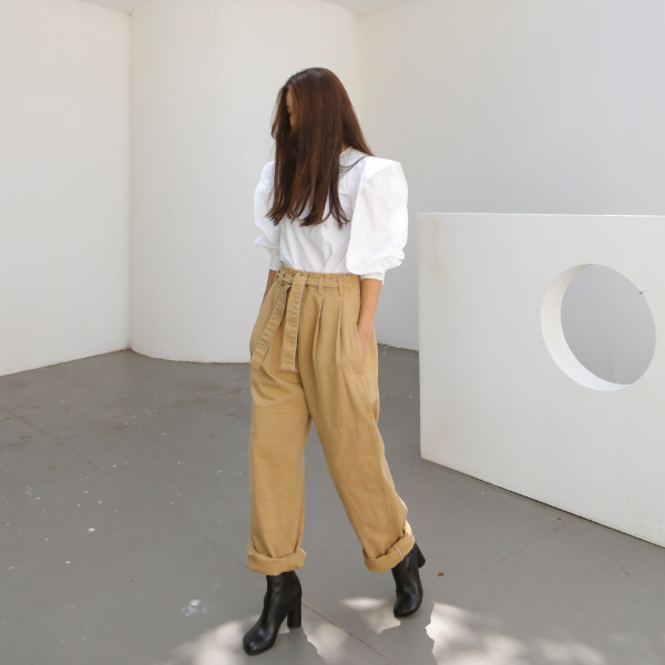 Self-Tie Belt Loose Pants