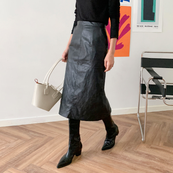 High-Waist Leatherette Skirt