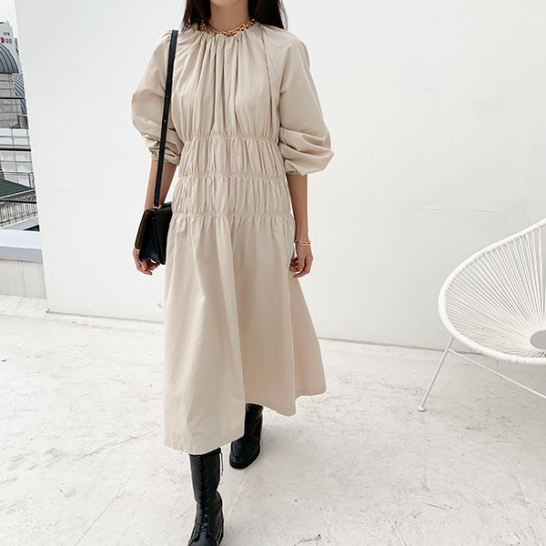 Shirred Long Sleeve Dress