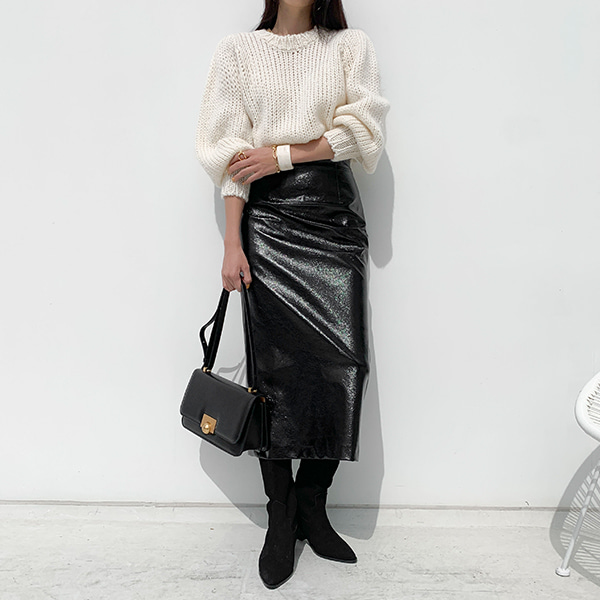 Faux Leather Straight Cut Skirt