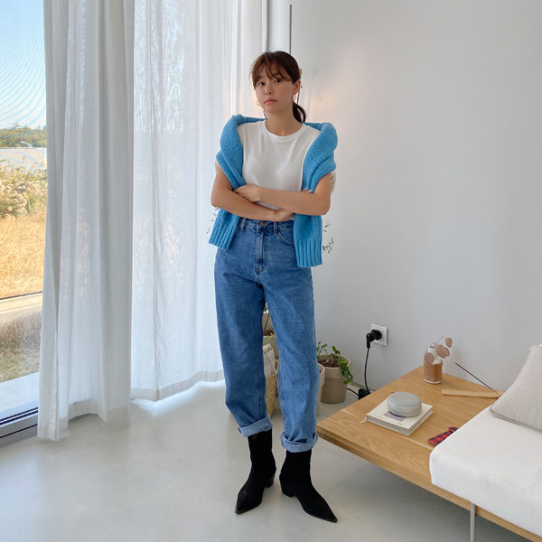 High Waist Loose Straight Leg Denim Pants
