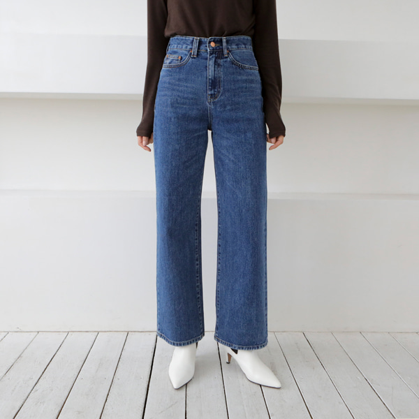 Whiskered Straight Wide Leg Denim Pants