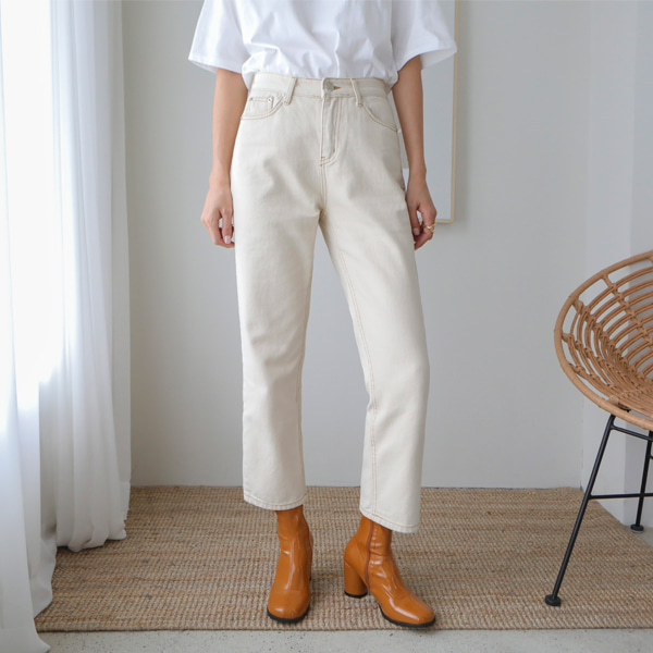 Contrast Stitch Cropped Cotton Pants