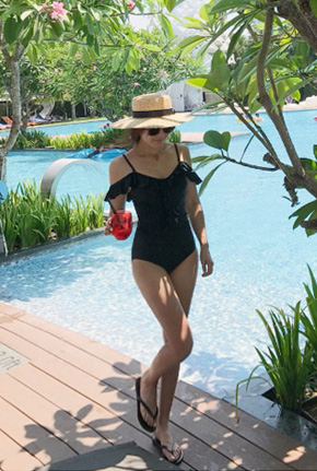 Frilled Cold-Shoulder One-Piece Swimsuit