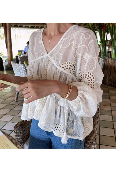 Eyelet Accent Embroidered Blouse