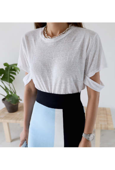 Cutout Sleeve Crew Neck T-Shirt