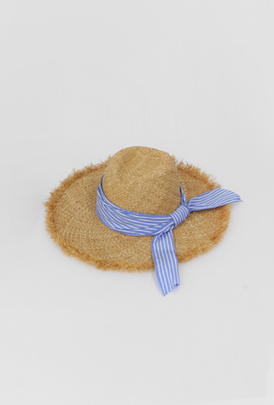 Striped Band Fringed Woven Hat
