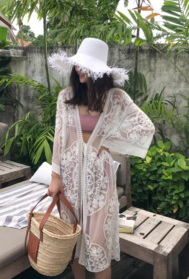 Tonal Embroidery Sheer Robe