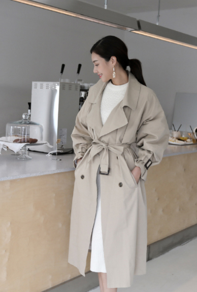 Solid Tone Double-Breasted Trench Coat