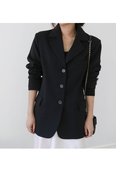 Notched Lapel Single-Breasted Jacket