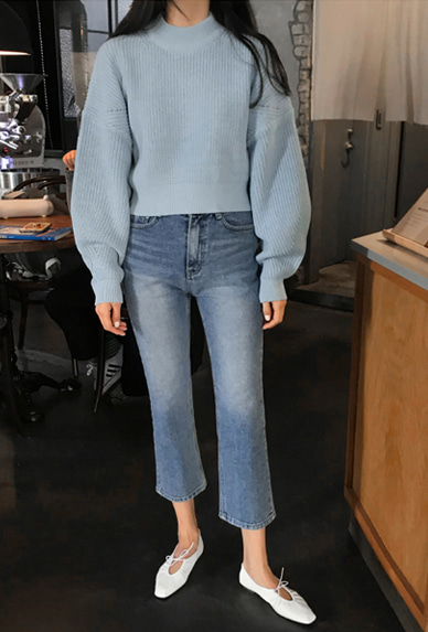 Whisker-Washed Cropped Denim Pants
