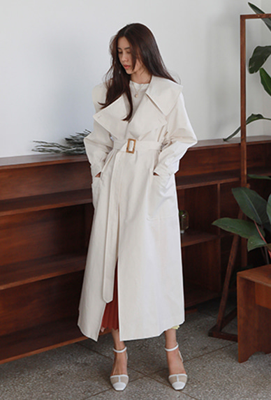 Wide Collar Solid Tone Trench Coat
