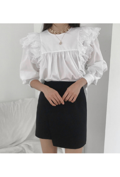 Perforated Frill Trimming Blouse