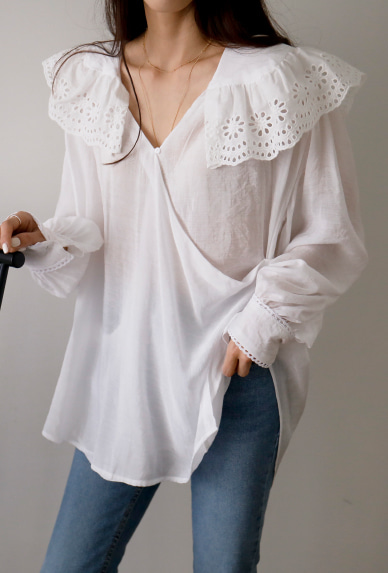 Perforated Collar Loose Blouse