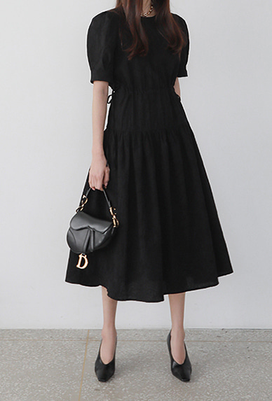 Puff Sleeve Drawstring Waist Dress