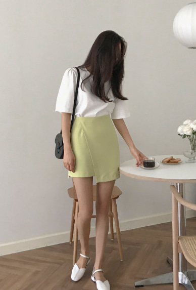Faux Wrap Solid Color Skirt