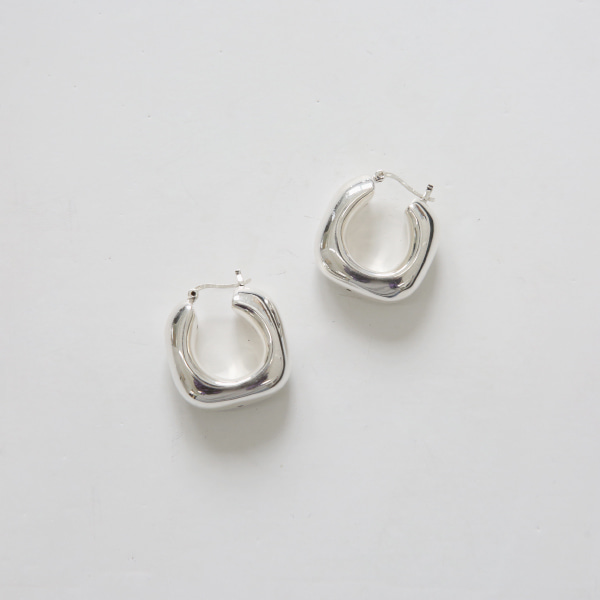 Small Rounded Square Hoop Earrings