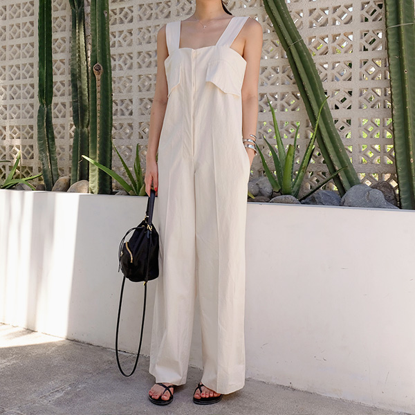 Flap Accent Belted Overalls