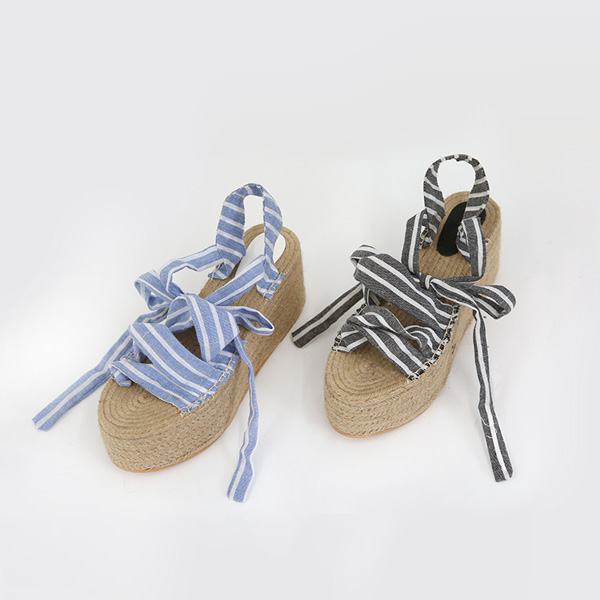 Striped Platform Espadrille Sandals