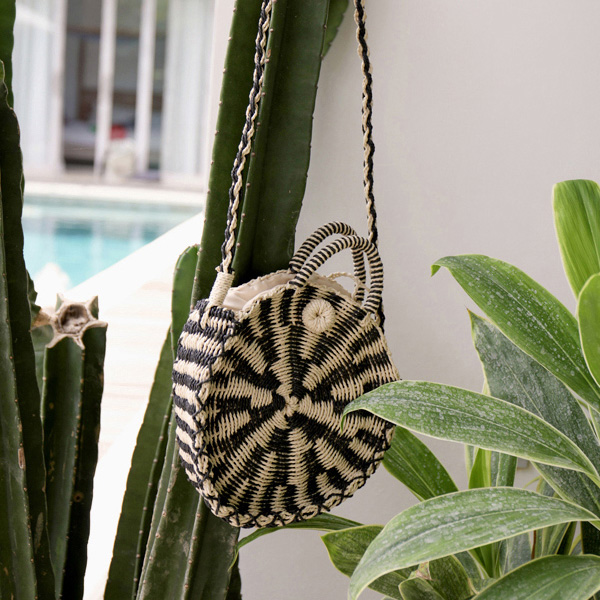 Striped Woven Crossbody Bag