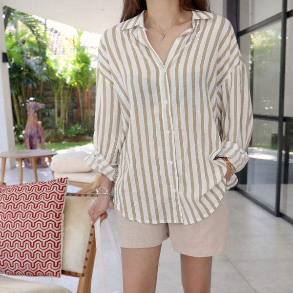 Dolphin Hem Striped Shirt