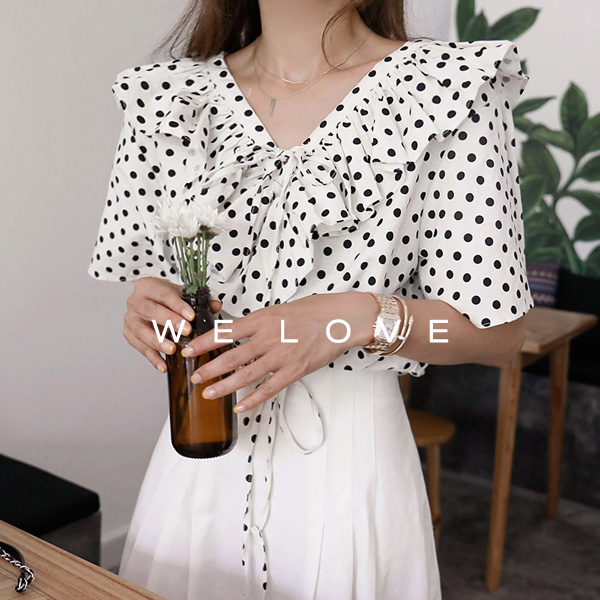 Polka Dot Frilled Crop Blouse
