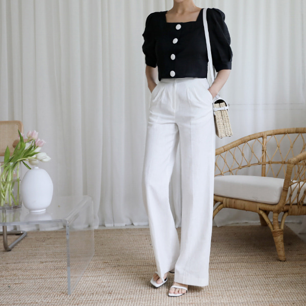 Double Hook Closure Wide Leg Pants