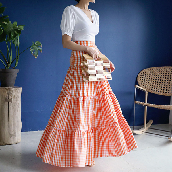 Gingham Check Tiered Maxi Skirt