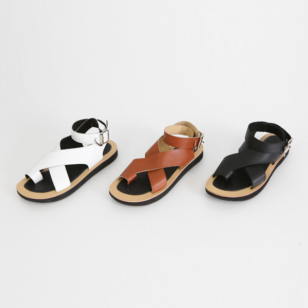 Buckled Ankle Strap Flat Sandals