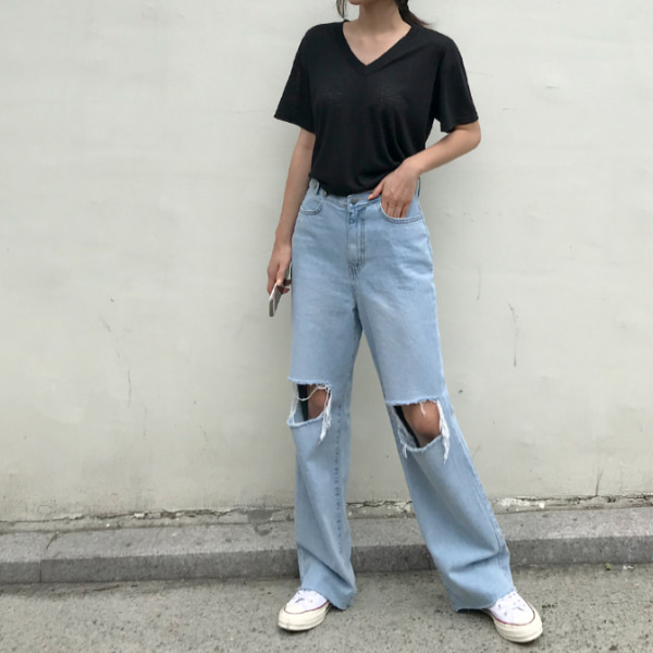 Busted Knee Loose Denim Pants
