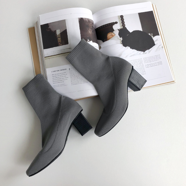 Stacked Heel Sock Boots