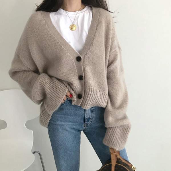 Extended Sleeve Buttoned V-Neck Cardigan