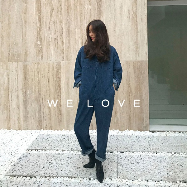 Snap Button Closure Denim Jumpsuit