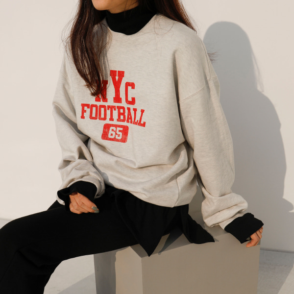 Football-Themed Print Sweatshirt