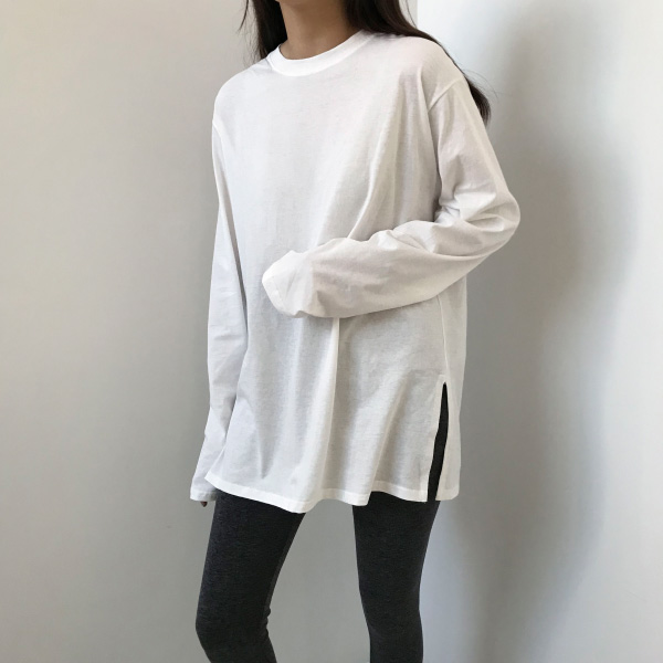 Extended Sleeve Side Slit Loose T-Shirt