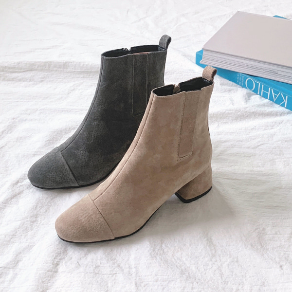Side Zipper Mid-Heel Boots