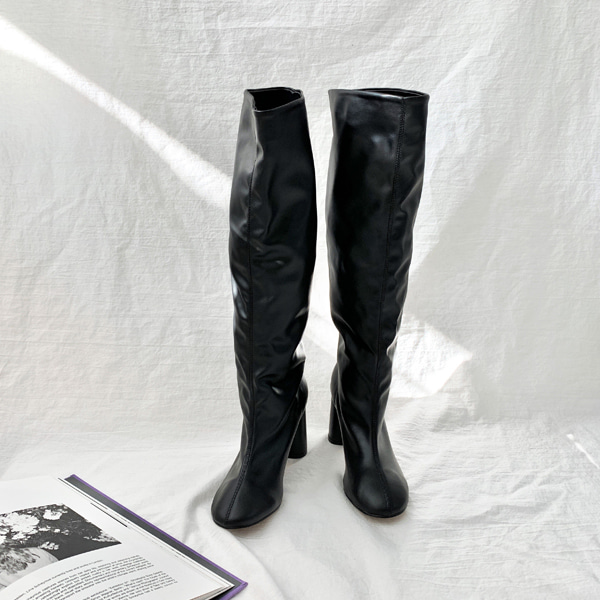 High Heel Ruched Tall Boots